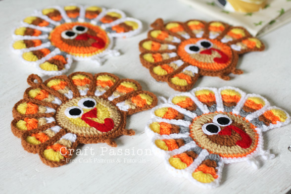 crochet turkey coaster 4