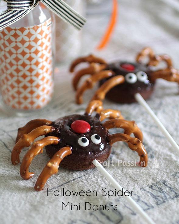 halloween spider mini donuts
