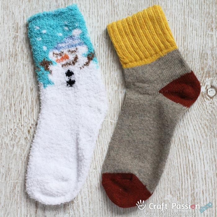 Chenille Microfiber Socks Set - Snowman