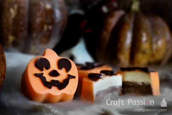 chocolate coated ice cream in pumpkin shape
