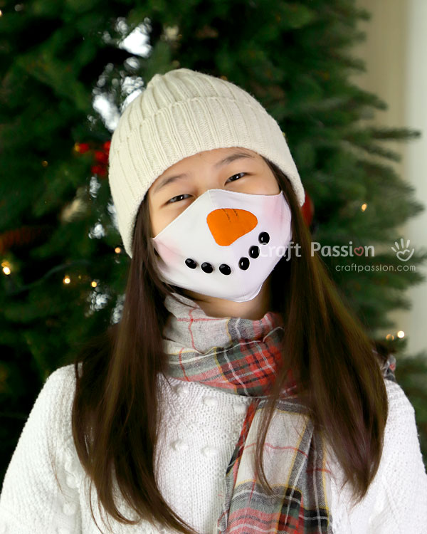 covid snowman face mask sewing pattern