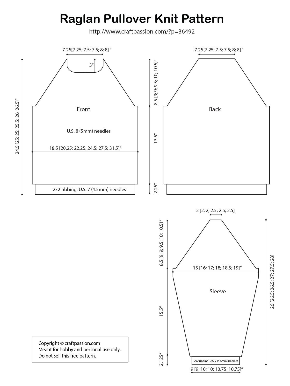 raglan sweater knit diagram