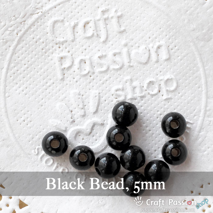 Black Beads, 1 pack - 5mm, 8mm
