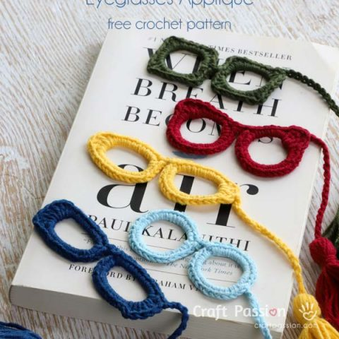 crochet spectacles applique