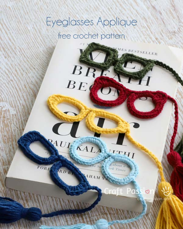 crochet eyeglasses applique
