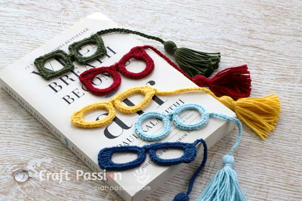 5 Eyeglasses Applique Crochet Pattern