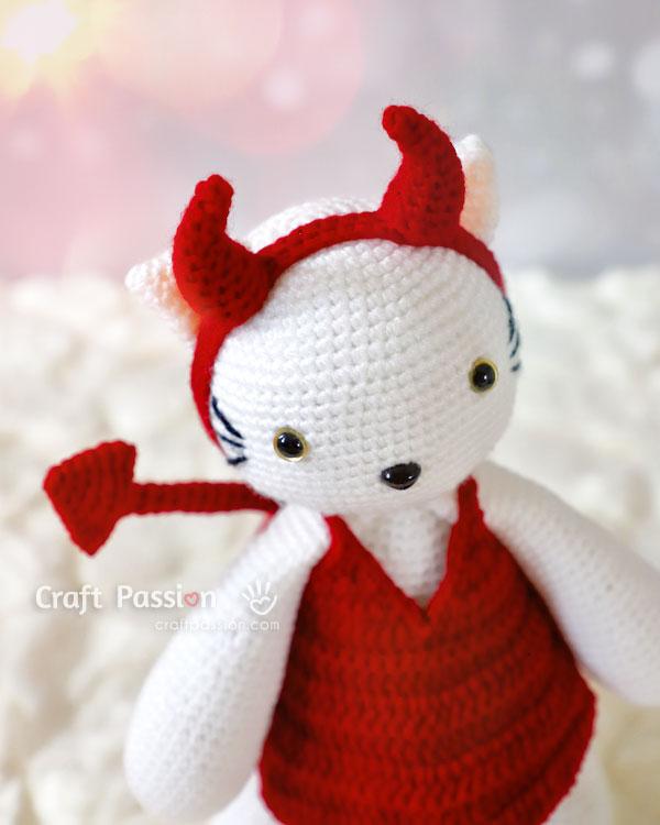 crochet devil horns for amigurumi