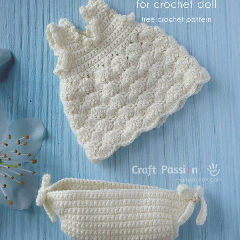 Crochet Doll Dress & Panties Pattern