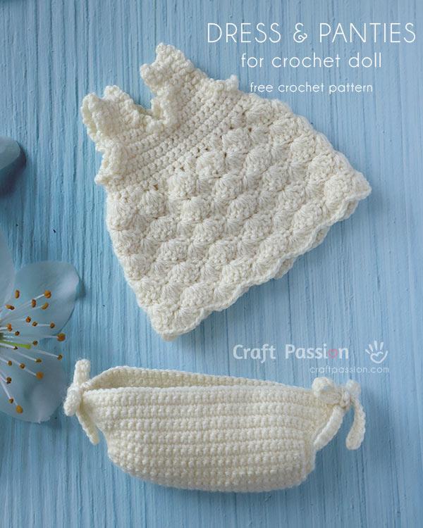 crochet doll dress panties pattern