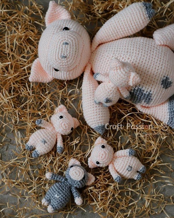 padrão de crochê de porco e leitão