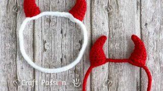 crochet red devil horns