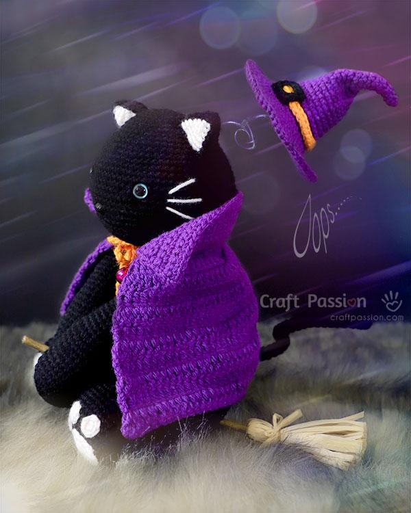 flying witch cat crochet pattern