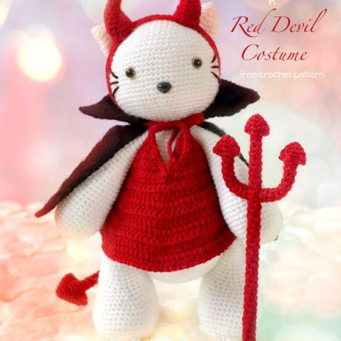 crochet red devil costume for amigurumi