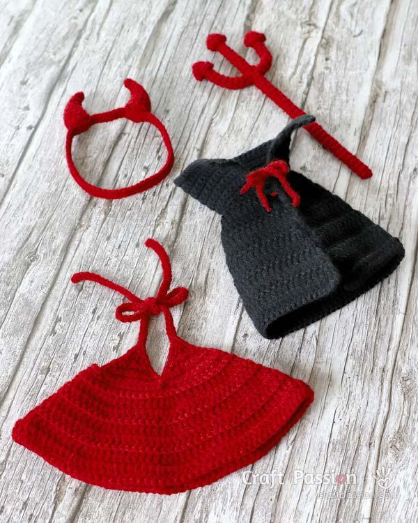 crochet halloween devil costume for doll