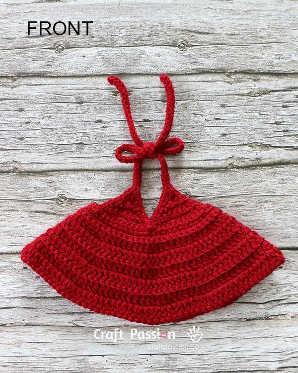 крючком красное платье для куклы