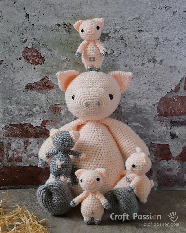 padrão de crochê de porco